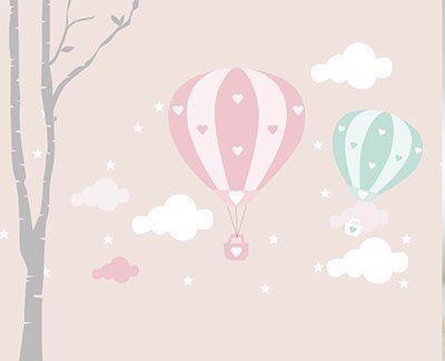 Sıcak Hava balonlu duvar kağıdı seti